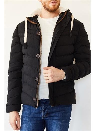 XHAN Hardal Kapüşonlu Comfort Slim Fit Şişme Mont 0Yxe4-44076-37 Siyah